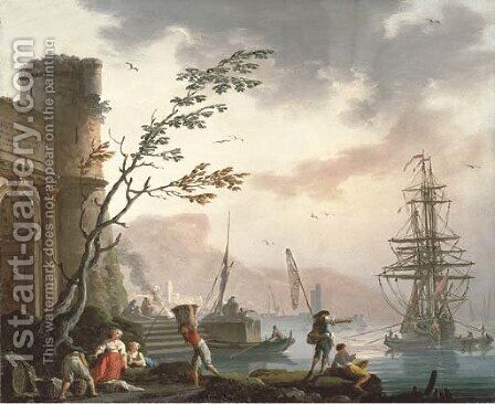 A Mediterranean port with fishermen on the shore by Charles Francois Lacroix de Marseille - Reproduction Oil Painting