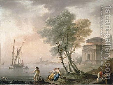 A Mediterranean port with fishermen on the shore, and a classical temple by Charles Francois Lacroix de Marseille - Reproduction Oil Painting