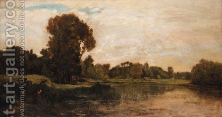 Les bords de l'Oise 3 by Charles-Francois Daubigny - Reproduction Oil Painting