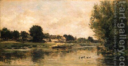 View of a river by Charles-Francois Daubigny - Reproduction Oil Painting