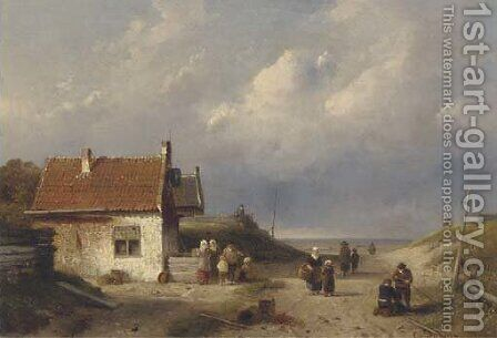 A coast scene near Scheveningen, Holland by Charles Henri Joseph Leickert - Reproduction Oil Painting