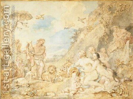 Orpheus charming the animals and the nymphs by Charles Joseph Natoire - Reproduction Oil Painting