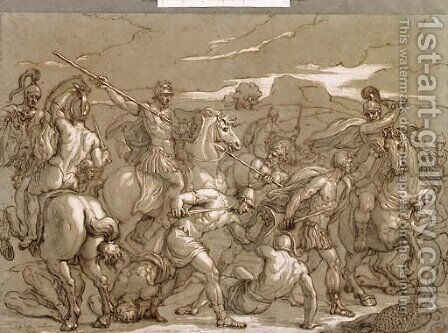 A Battle Scene by Charles-Louis Chron - Reproduction Oil Painting