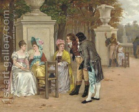 La cour by Charles Louis Kratke - Reproduction Oil Painting