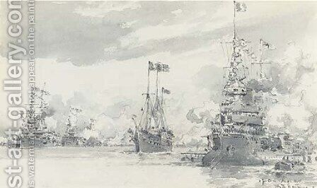 The Royal Yacht reviewing the French fleet off Cowes during its visit in August 1905 by Eduardo de Martino - Reproduction Oil Painting