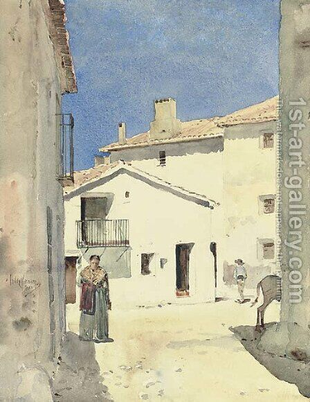 A Street in Denia, Spain by Childe Hassam - Reproduction Oil Painting