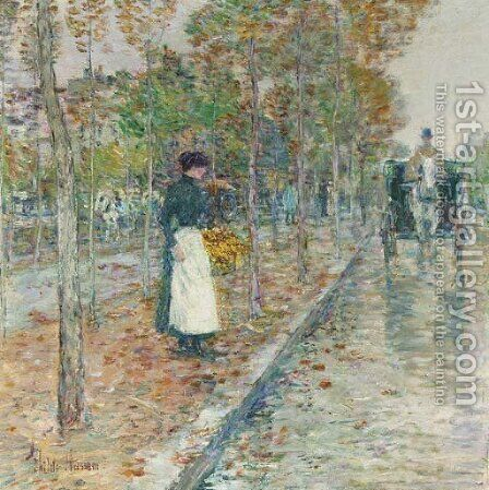Autumn Boulevard, Paris by Childe Hassam - Reproduction Oil Painting