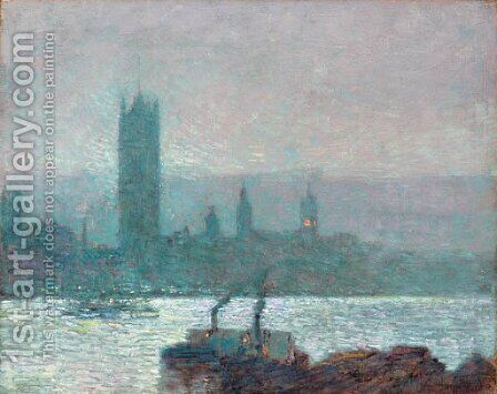 Houses of Parliament, Early Evening 2 by Childe Hassam - Reproduction Oil Painting