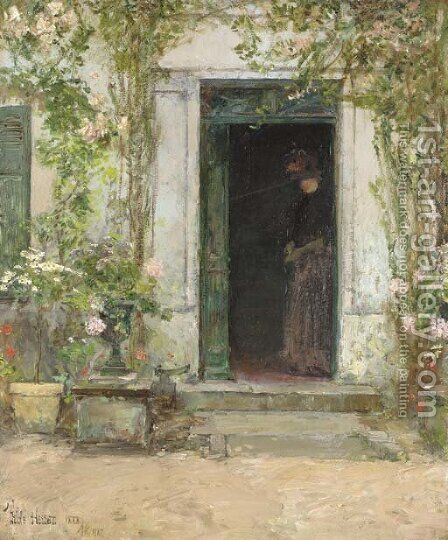 In the Doorway by Childe Hassam - Reproduction Oil Painting