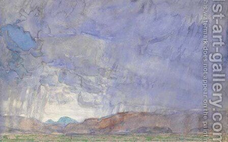 Thunderstorm on the Oregon Trail by Childe Hassam - Reproduction Oil Painting