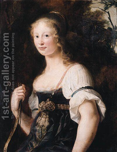 A portrait of a young woman as Diana, standing half length in a landscape, wearing a green dress and chemise, a wrap around her waist - a fragment by Christiaen van Couwenbergh - Reproduction Oil Painting