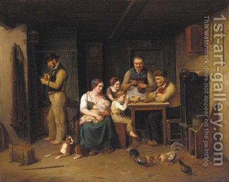 A family in an interior by Christian Andreas Schleisner - Reproduction Oil Painting