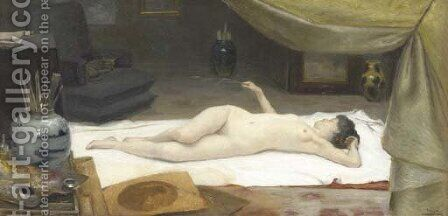 A Reclining Nude in a Studio by Christian Clausen - Reproduction Oil Painting
