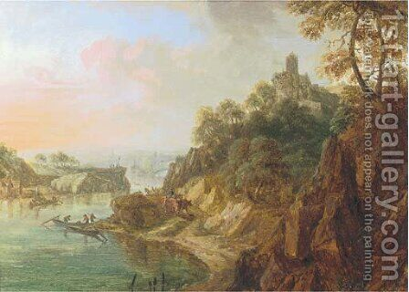 A Rhenish landscape with herdsmen on a track near a castle by Christian Georg Schuttz II - Reproduction Oil Painting