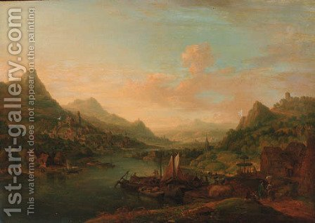 An extensive Rhenish landscape, with boats moored by a jetty by Christian Georg Schuttz II - Reproduction Oil Painting
