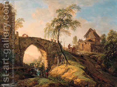Travellers on a stone bridge waving by Christian Georg Schuttz II - Reproduction Oil Painting