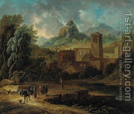 An Italianate landscape with travellers and a packmule on a river bank by Christian Hulfgott Brand - Reproduction Oil Painting