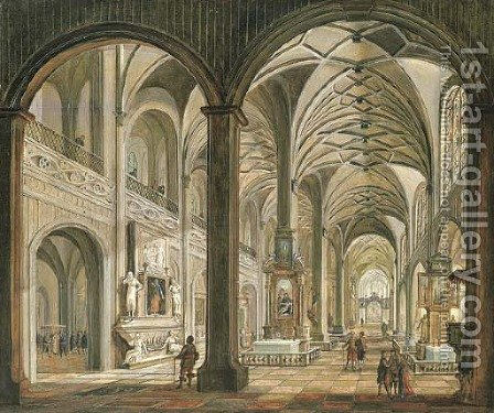 The interior of a cathedral by Christian Stocklin - Reproduction Oil Painting
