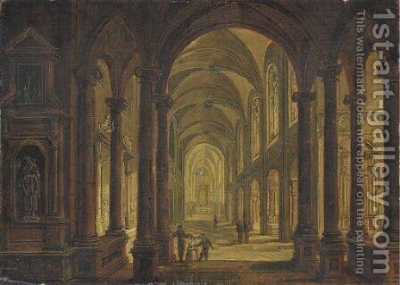 The interior of a church at night by Christian Stocklin - Reproduction Oil Painting