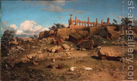 Agrigento with Juno temple by Christian Wilberg - Reproduction Oil Painting