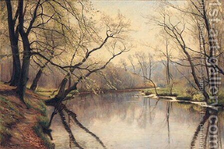 A Tranquil River Landscape by Christian Zacho - Reproduction Oil Painting