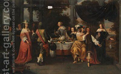 Elegant company at a table by Christoffel Jacobsz van der Lamen - Reproduction Oil Painting