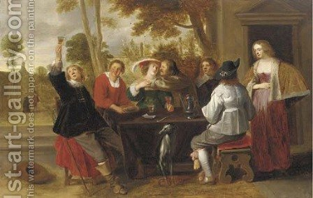 Elegant company at table on a terrace by Christoffel Jacobsz van der Lamen - Reproduction Oil Painting