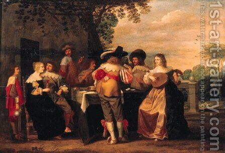 Elegant company merrymaking on a terrace by Christoffel Jacobsz van der Lamen - Reproduction Oil Painting