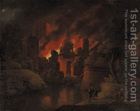 A town on fire at night with onlookers by Christoph Van Bemmel - Reproduction Oil Painting
