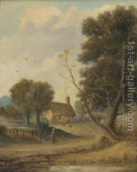 A figure before a cottage in a wooded landscape by Christopher Mark Maskell - Reproduction Oil Painting