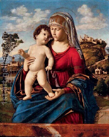 The Madonna and Child in a landscape by Giovanni Battista Cima da Conegliano - Reproduction Oil Painting
