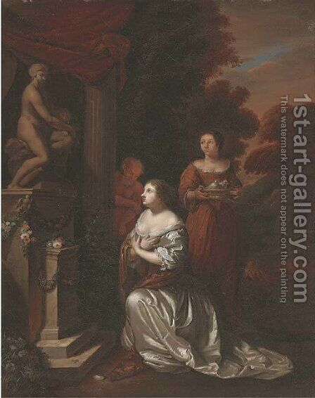 The Offering to Venus by (after) Caspar Netscher - Reproduction Oil Painting
