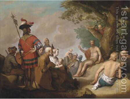 Saint John the Baptist Preaching to the Multitude by (after) Abraham Bloemaert - Reproduction Oil Painting