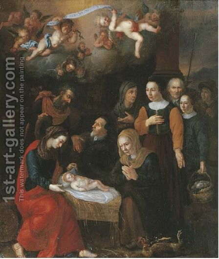 The Adoration of the Shepherds 2 by (after) Abraham Bloemaert - Reproduction Oil Painting