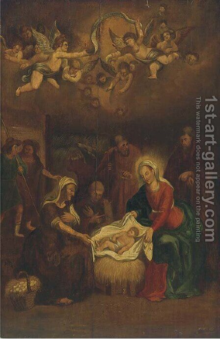 The Adoration of the Shepherds 3 by (after) Abraham Bloemaert - Reproduction Oil Painting