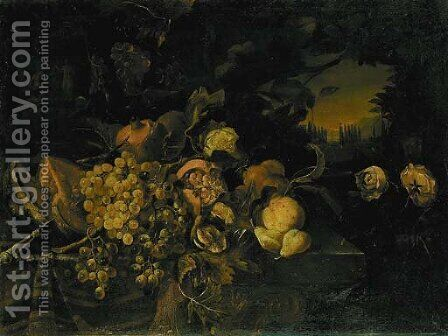 Grapes on the vine by (after) Abraham Bruegel - Reproduction Oil Painting