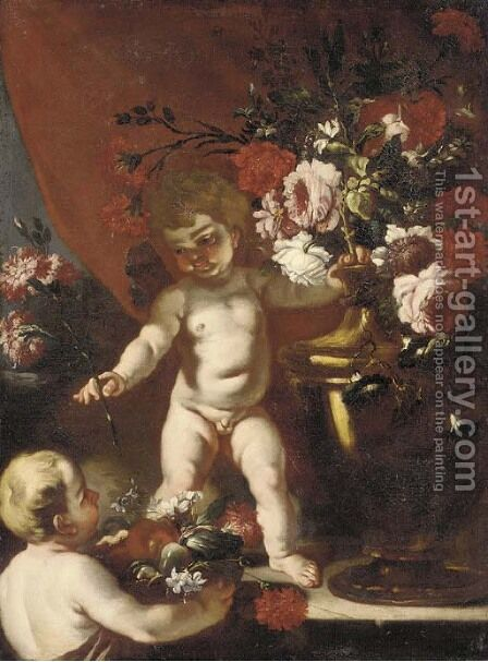 Putti with carnations, roses and other flowers in urns by (after) Abraham Brueghel - Reproduction Oil Painting