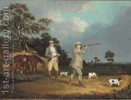 Gentleman shooting partridge, with pointers in a landscape by (after) Cooper, Abraham - Reproduction Oil Painting