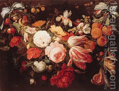 A swag of flowers and fruit with caterpillars by (after) Abraham Mignon - Reproduction Oil Painting