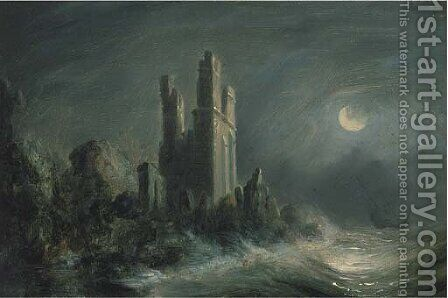 A ruined castle on a stormy moonlit coast by (after) Abraham Pether - Reproduction Oil Painting