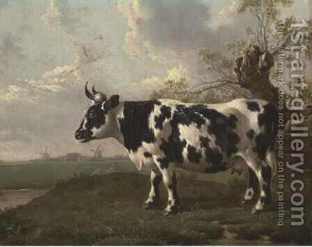 A pastoral landscape with a cow by a pollard willow by (after) Abraham Van, I Strij - Reproduction Oil Painting