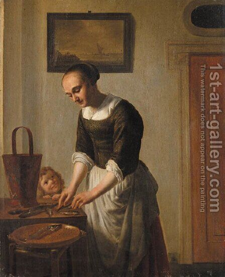 A woman filleting fish watched by a child by (after) Abraham Van, I Strij - Reproduction Oil Painting