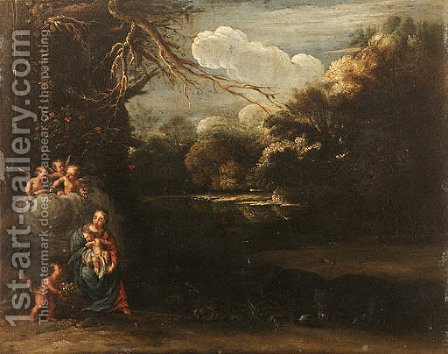 The Virgin and Child with adoring Angels in a river Landscape by (after) Adam Elsheimer - Reproduction Oil Painting