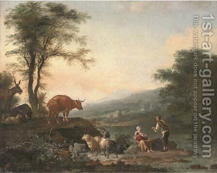 A river landscape with a shepherd, his family and their cattle by (after) Adam Pynacker - Reproduction Oil Painting