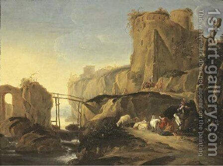 An Italianate mountain landscape with a shepherd and shepherdess resting by a river with their flock, travellers nearby by (after) Adam Pynacker - Reproduction Oil Painting