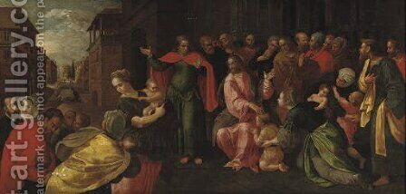 'Christ suffering the Children to come unto Him' by (after) Adam Van Noort - Reproduction Oil Painting