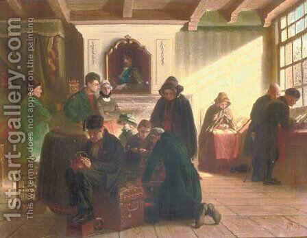 A gathering in a Dutch interior by (after) Adolph Alexander Dillens - Reproduction Oil Painting