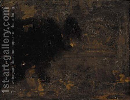 Birds near a fountain in a landscape by (after) Adriaen De Gryeff - Reproduction Oil Painting