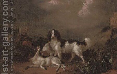 Spaniels playing in a landscape by (after) Adriaen De Gryeff - Reproduction Oil Painting