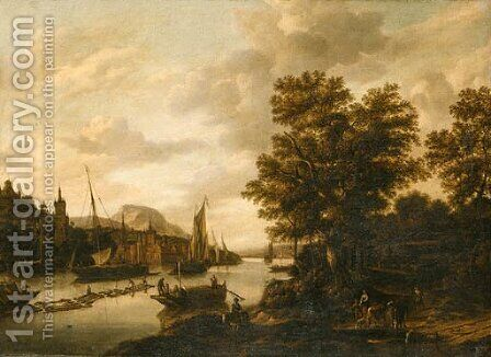 .A river Landscape with Loggers and Sailboats by (after) Adriaen Hendriksz. Verboom - Reproduction Oil Painting